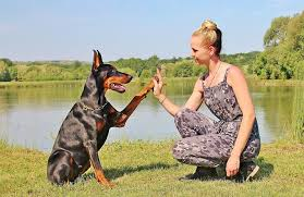 woman with doberman dog