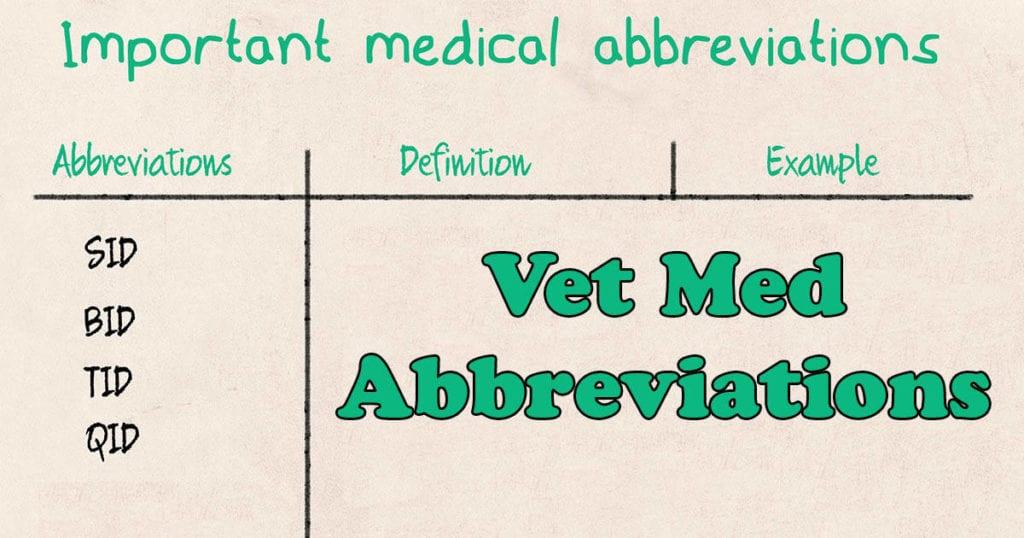 abbreviations in veterinary medicine