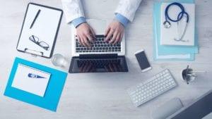 laptop doctor stethoscope