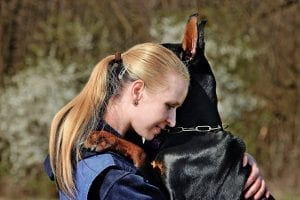 woman, blonde, dog, doberman, hug, love