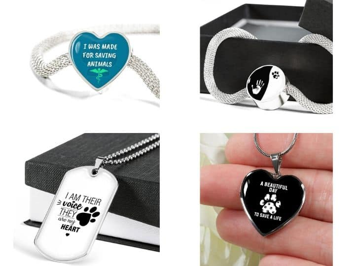 luxury stainless steel jewelry I love veterinary