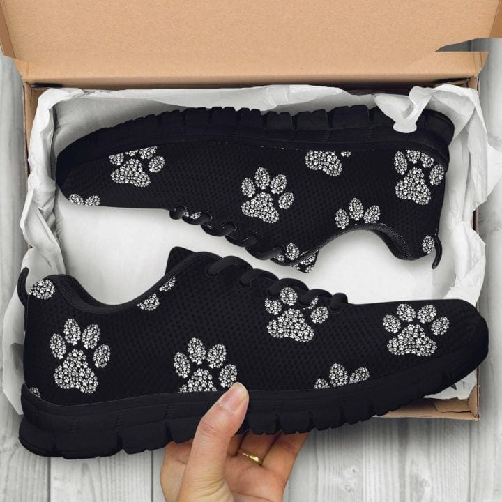 black and white sneakers box top view pawprint pattern e1584126359859 I Love Veterinary - Blog for Veterinarians, Vet Techs, Students