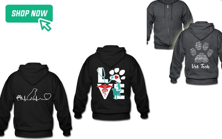 gifts for world veterinary day zip hoodies, I Love Veterinary