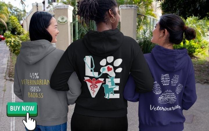 zip hoodies for veterinarians I Love Veterinary