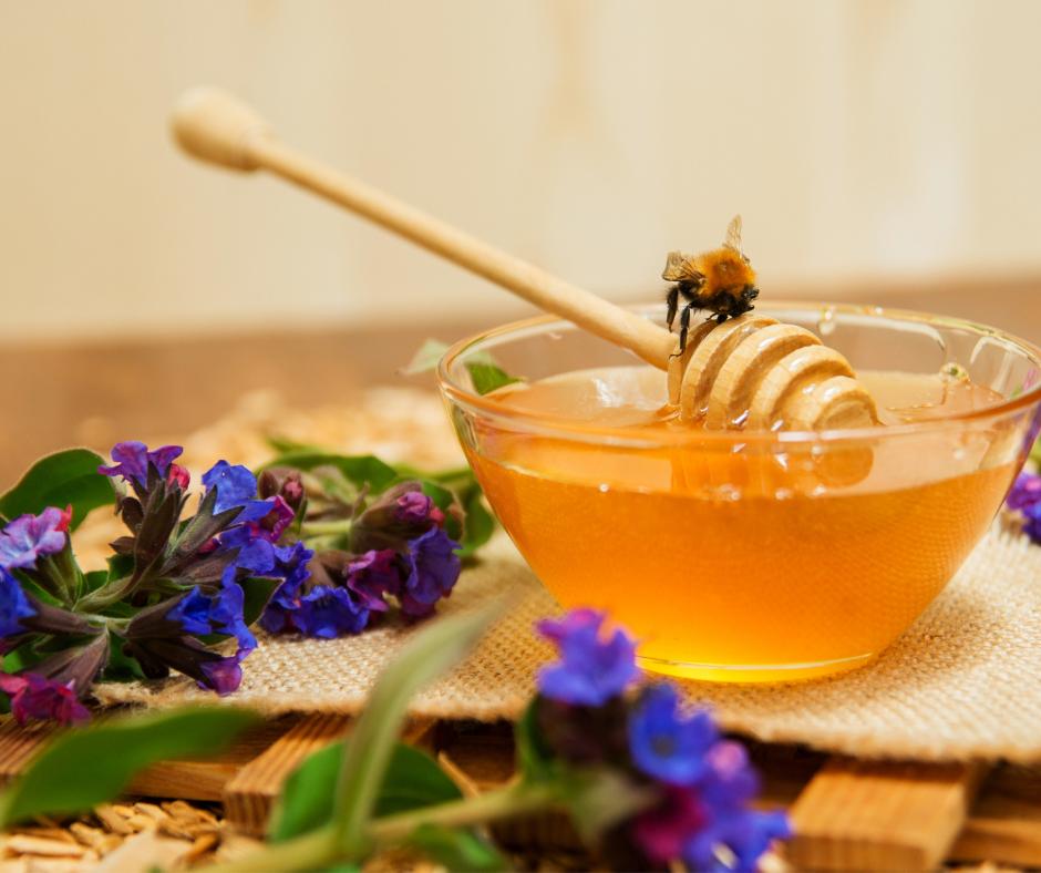 a honeybee sitting on a bowl of honey