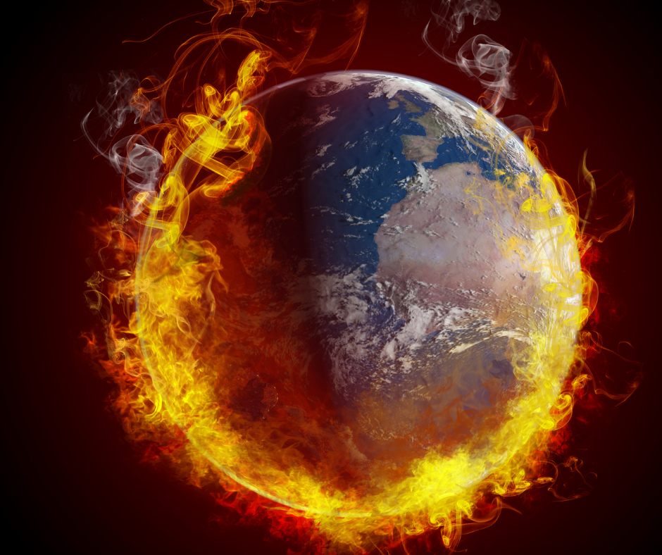 Global warming fire engulfing earth globe