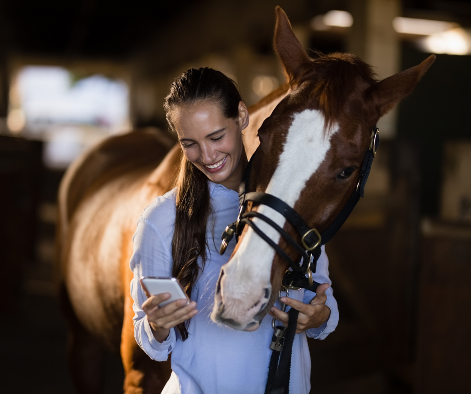 female traveling vet with a horse