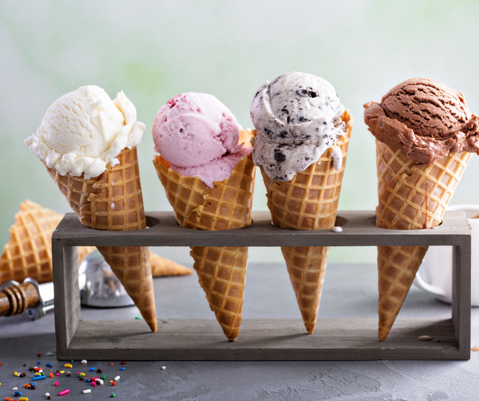 four cones with ice cream in a stand