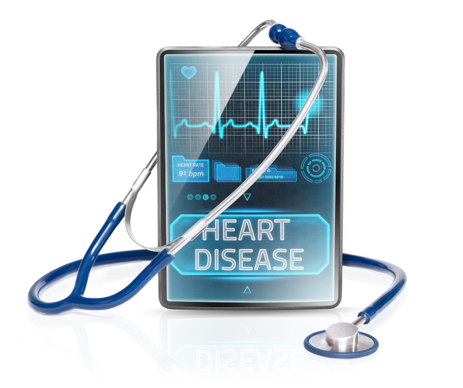 blue heart disease sign with a stethoscope