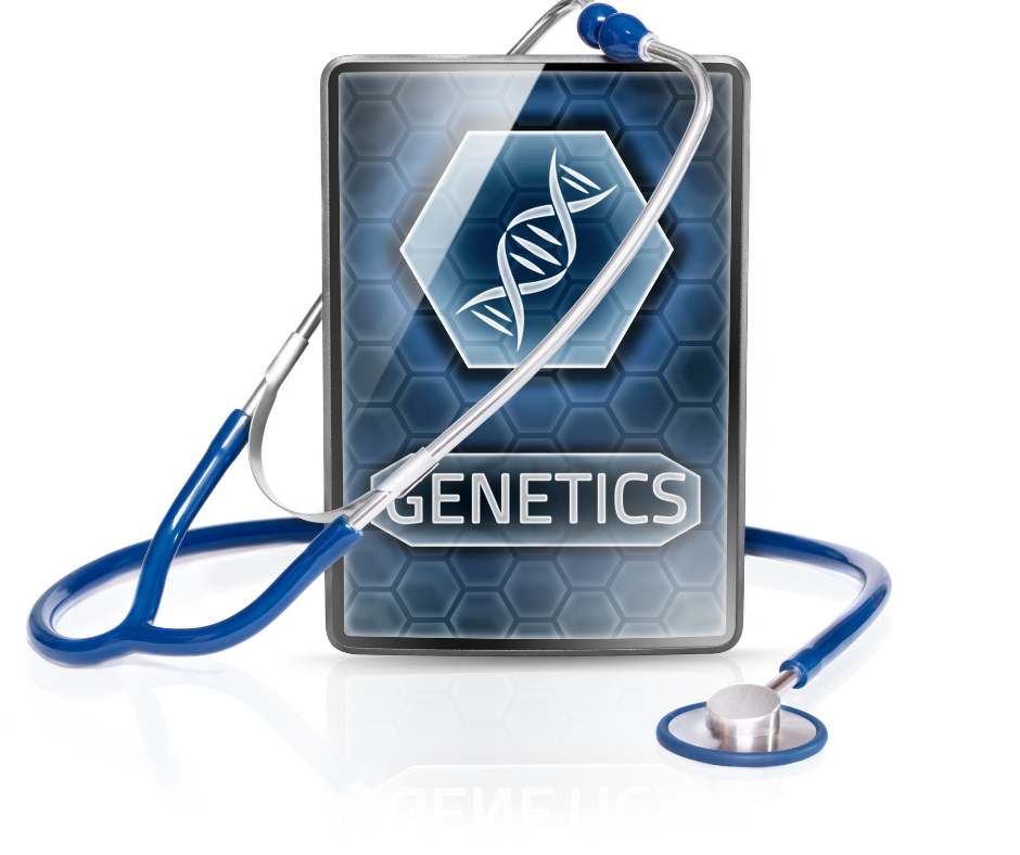 tablet with genetics and blue stethoscope